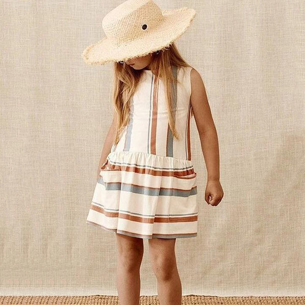Baby Girls Striped Sleeveless Pocket Dress Wholesale Baby Clothes