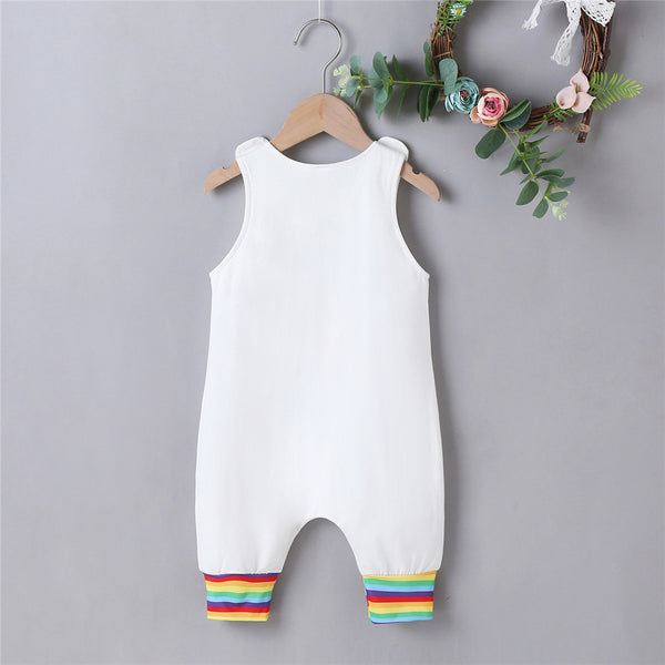 Baby Boy Striped Sleeveless Rainbow Letter Printed Romper wholesale infant clothing