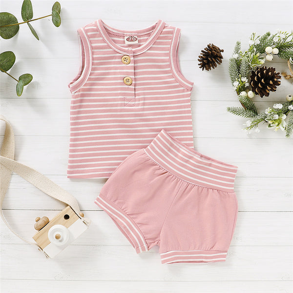 Baby Unisex Striped Sleeveless Top & Shorts Wholesale Clothing Baby