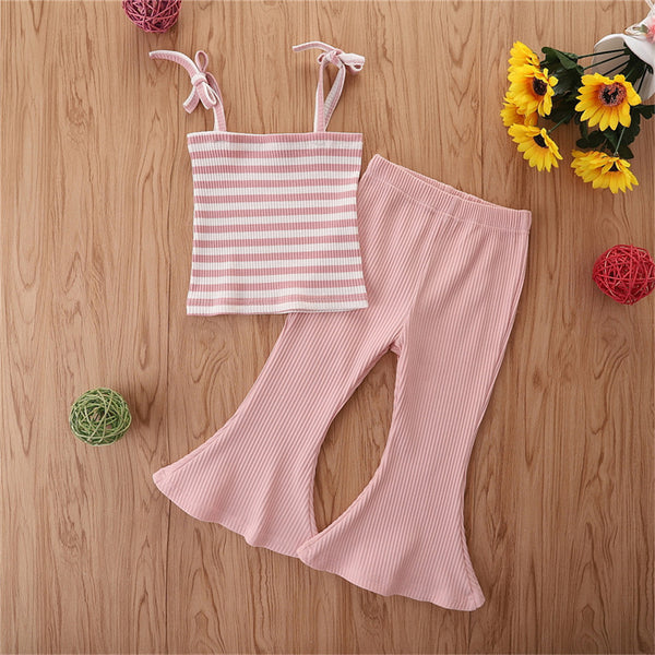 Girls Striped Sling Top & Pink Bell Pants Buy Wholesale Kids Clothing