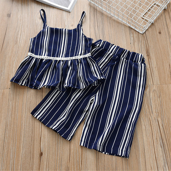 Girls Striped Sling Top & Shorts Summer Suit Girls Clothing Wholesalers