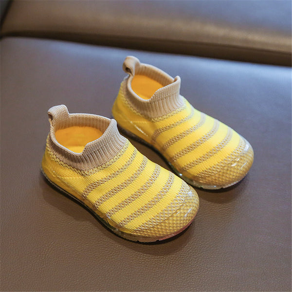 Baby Boys Striped Sock Slip On Flat Shoes