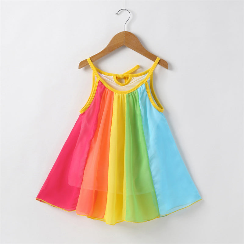 Girls Striped Splicing Color Block Suspender Dress Toddler Girls Wholesale