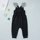 Baby Girls Striped Splicing Sling Jumpsuit Cheap Baby Clothes In Bulk