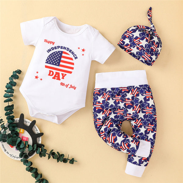 Baby Unisex Striped Star Cartoon Letter Romper & Pants & Hat bulk baby clothes