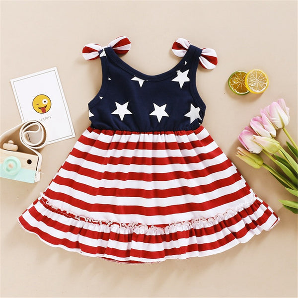 Girls Striped Star Sling Bow Dress wholesale childrens clothing