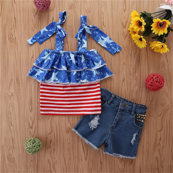Girls Striped Star Sling Top & Denim Shorts wholesale kids boutique clothing