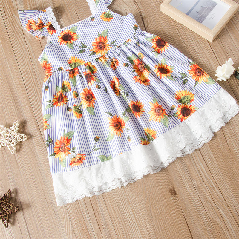 Girls Striped Sunflower Sleeveless Lace Splicing Dress Wholesale Girls Clothing