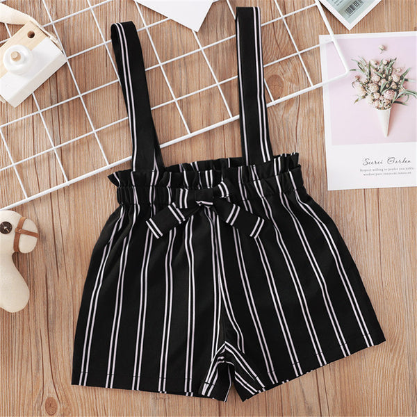 Girls Striped Suspender Shorts wholesale kids boutique clothing