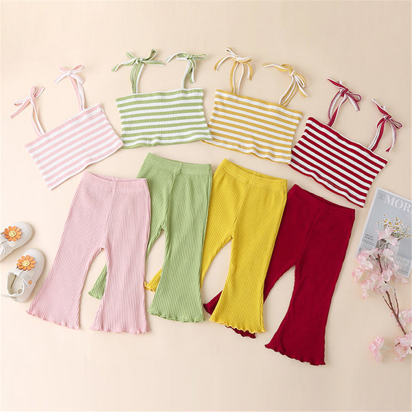 Baby Girls Striped Tank Top & Solid Flare Pants Wholesale Little Girl Boutique Clothing