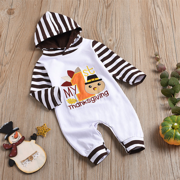 Baby Striped Thanksgiving Turkey Long Sleeve Romper Baby Clothes Wholesale Bulk