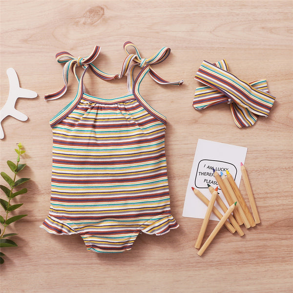 Baby Girls Striped Tie Up Sling Romper & Headband Baby Boutique Clothes Wholesale