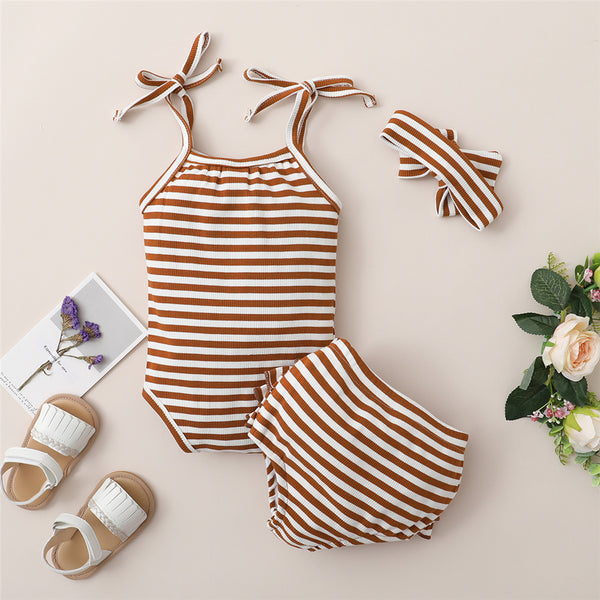 Baby Girls Striped Tie Up Sling Romper & Ruffled Shorts & Headband Baby Apparel Wholesale