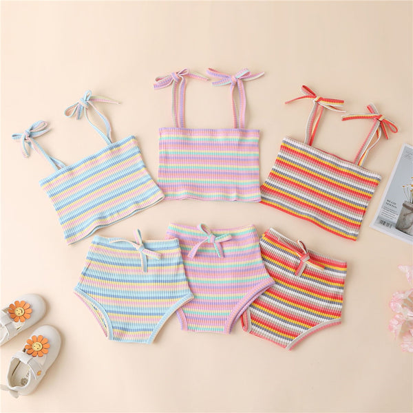 Baby Girls Striped Tie Up Tank Top & Shorts cheap baby girl clothes boutique