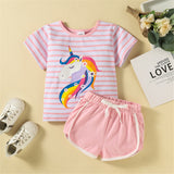Girls Striped Unicorn Printed Short Sleeve Top & Shorts wholesale childrens clothing