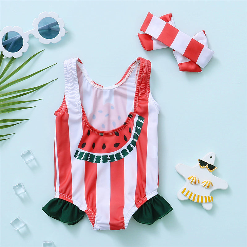 Girls Striped Watermelon Printed Sleeveless Swimwear & Headband Toddler One Piece Swimsuit