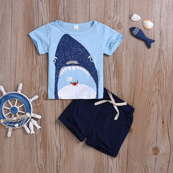Boys Summer Baby Boy Round Neck Shark Print Short Sleeve T-Shirt & Solid Shorts Wholesale Boys Jeans