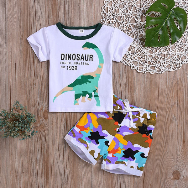 Boys Summer Boys' Dinosaur Letters Printed Short Sleeve T-shirt & Shorts Wholesale Boy Boutique Clothing