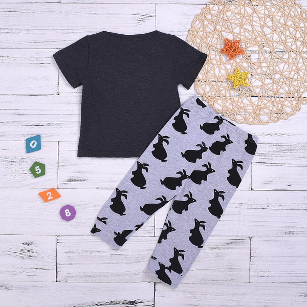 Boys Summer Boys' Letter Printed Short Sleeve Top & Animal Printed Trousers Baby Boy Red Shirt