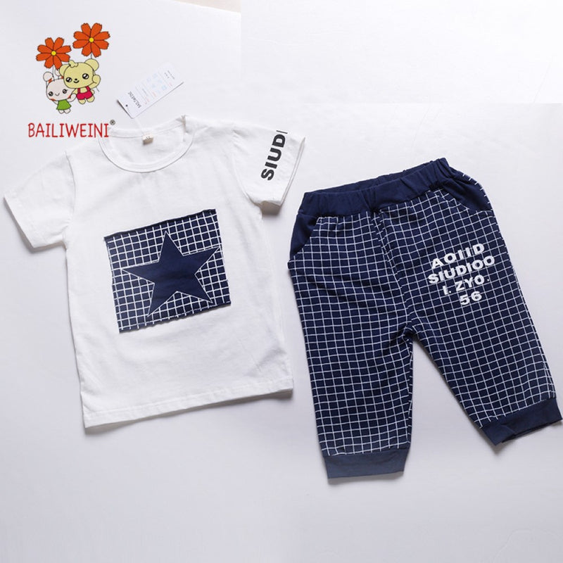 Summer Boys' Star Print Plaid Short Sleeve T-Shirt & Pants Toddler Boy Sets