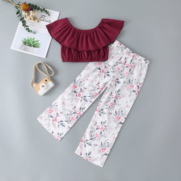 Summer Children'S Clothing Girls Burgundy Short Top + Printed Trousers Suit Baby Girl Clothes Wholesale