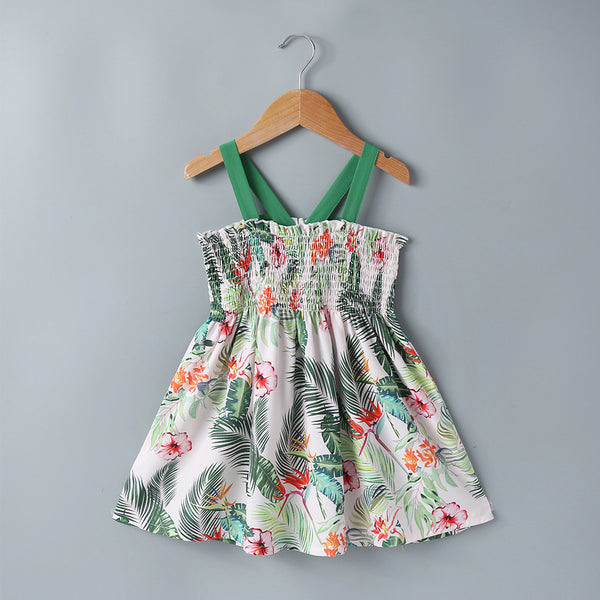 Summer Children'S Clothing Girls Dress Korean Sling Print Dress Wholesale Girl Dresses