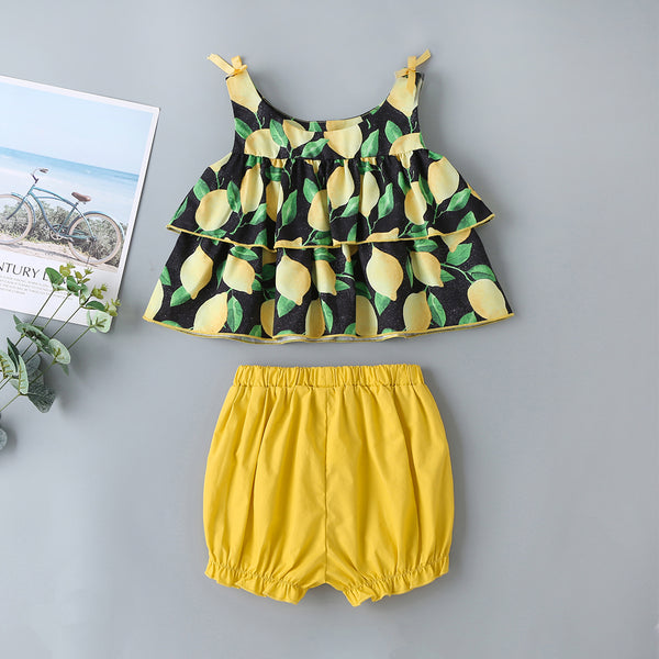Summer Children'S Clothing Short-Sleeved Suit Lemon Top + Yellow Cotton Shorts Baby Wholesales