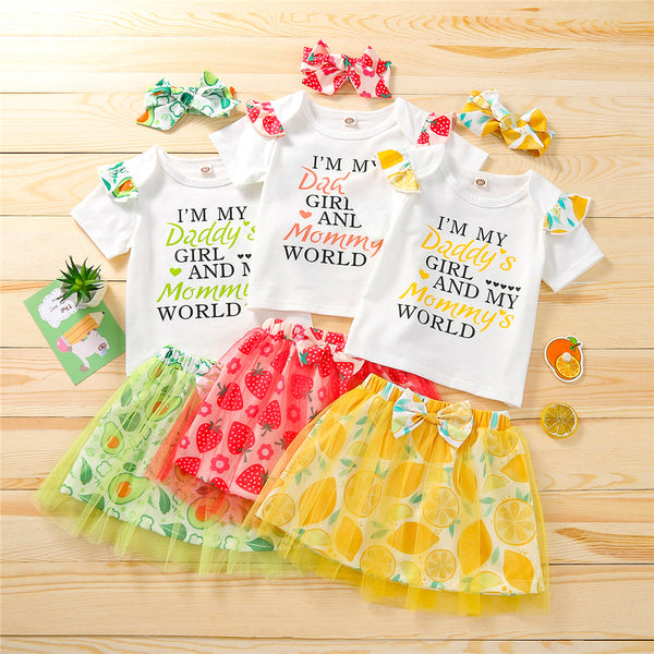 Girls Summer Fruit Printed Short Sleeve Letter Printed Top & Skirt & Headband baby clothes wholesale distributors