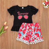 Girls Summer Glasses Printed Short Sleeve Top & Shorts Girl Boutique Clothing Wholesale