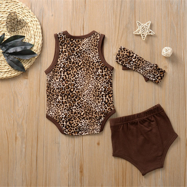 Baby Girls Summer Leopard Vest & Shorts & Headband Wholesale Baby Clothes