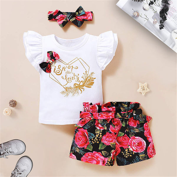 Baby Girls Summer Letter Floral Printed Top & Shorts & Headband Baby Clothing Cheap Wholesale