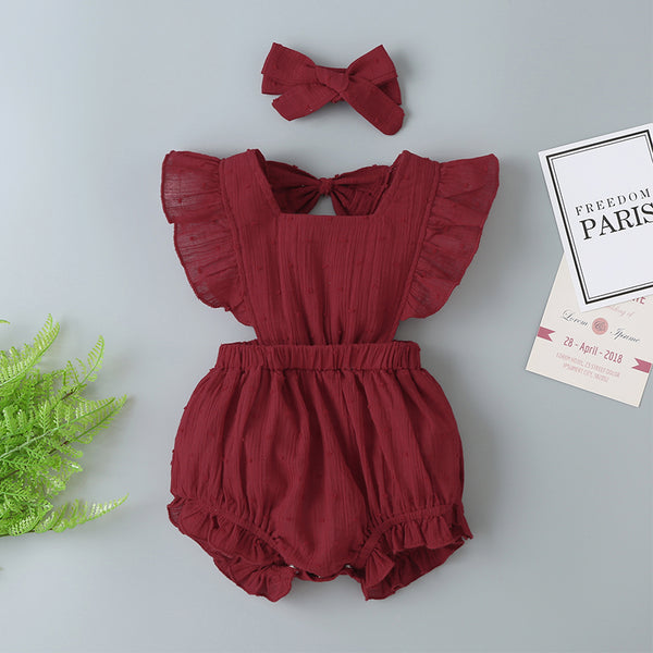 Summer New Baby And Children'S Clothing Red Romper Small Flying Sleeves Halter + Hair Accessories Climbing Clothes Female Treasure Short Climbing Jumpsuit Where To Buy Baby Clothes In Bulk