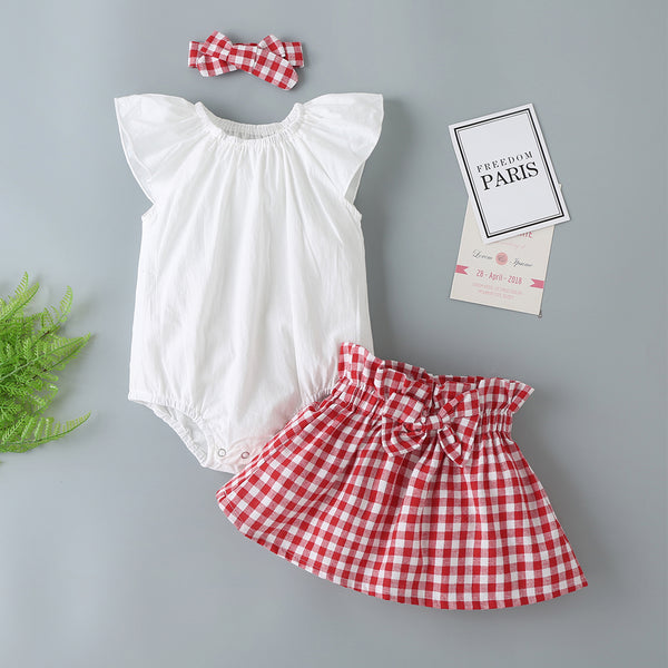 Summer New Girls Flying Sleeve White Romper + Plaid Skirt With Headwear Set Buy Baby Clothes Wholesale