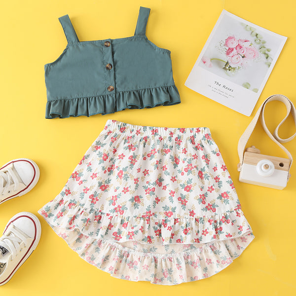 Summer New Skirt Suit Baby Casual Sleeveless Top&Short Skirt Baby Clothes Wholesale
