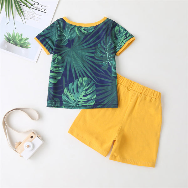 Boys Summer Party Plant Printed Short Sleeve Top & Yellow Shorts Boy Boutique Clothing Wholesale
