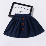 Girls Summer Solid Color Button Skirt Trendy Kids Wholesale Clothing