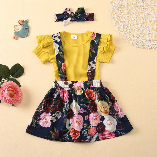 Girls Summer Yellow Short Sleeve Top & Floral Printed Bottoms Toddler Girls Wholesale