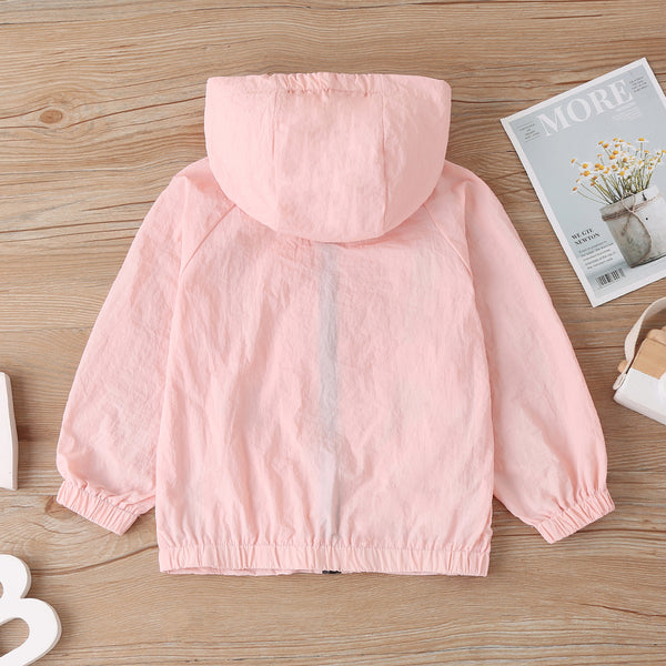 Girls Sun Protection Hooded Long Sleeve Zipper Jacket Girls Clothes Wholesale