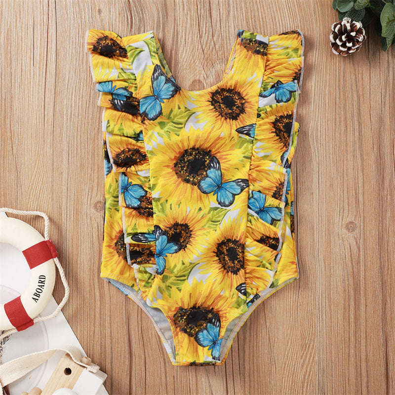Girls Sunflower Butterfly Printed Swimwear Toddler 2 Piece Swimsuit