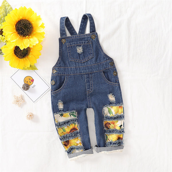 Baby Sunflower Floral Printed Pocket Denim Overalls