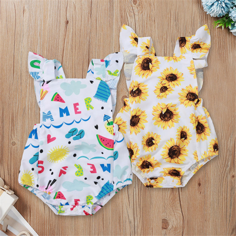 Baby Girls Sunflower Fruit Printed Sleeveless Romper Baby Clothes Wholesale Bulk