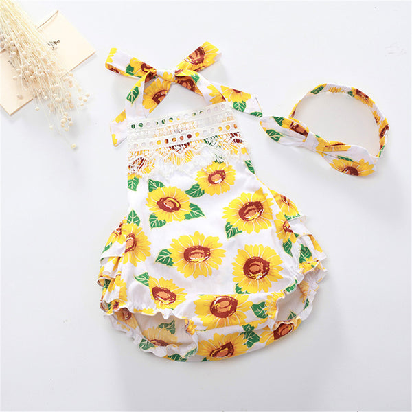 Baby Girls Sunflower Lace Casual Romper & Headband cheap baby boutique clothing