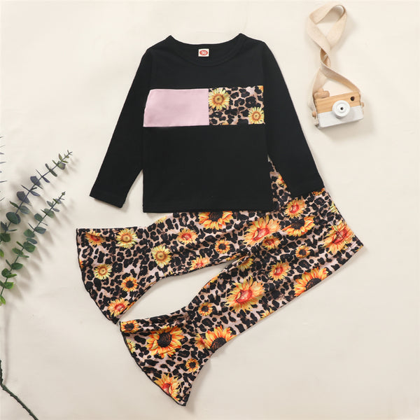 Girls Sunflower Leopard Printed Long Sleeve Top & Bell Trousers Kids Wholesale Clothing