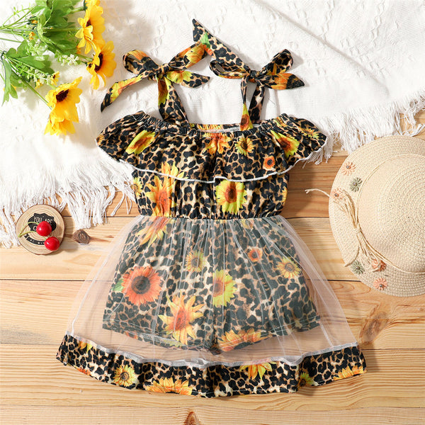 Girls Sunflower Leopard Printed Sling Mesh Dress kids clothes wholesale