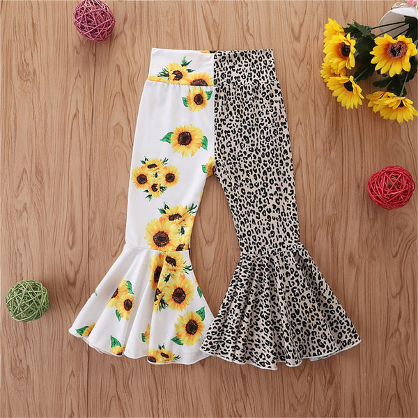 Girls Sunflower Leopard Printed Splicing Flared Pants Girls Clothing Wholesale