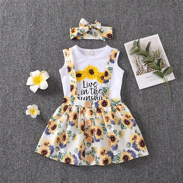 Girls Sunflower Letter Printed Sleeveless Top & Suspender Skirt &Headband kids clothing vendors