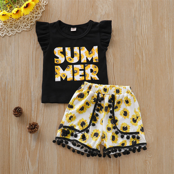 Girls Sunflower Letter Summer Printed Flutter-Sleeve Top & Shorts wholesale childrens clothing online