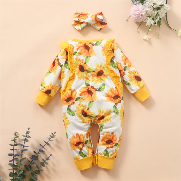 Baby Girls Sunflower Printed Long Sleeve Romper & Headband Baby Wholesale Clothing