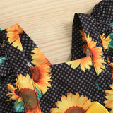Baby Girls Sunflower Printed Ruffled Romper wholesale baby clothes usa