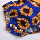 Baby Girls Sunflower Printed Ruffled Tie Up Romper & Headband Baby Boutique Clothing Wholesale
